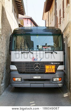 Gas Truck On Narrow Streets At Astano On Switzerland