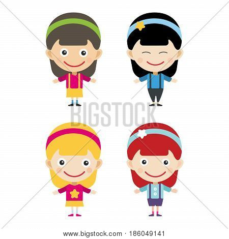 Girl portrait fun happy boy young expression cute teenager cartoon character and happyness little kid flat human cheerful joy casual childhood life vector illustration. Adorable preschooler male.