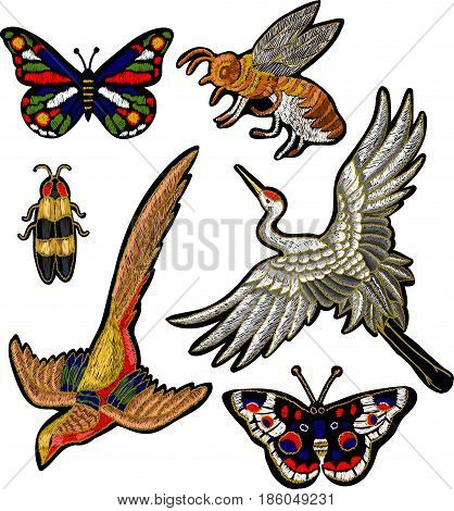 Bee, butterfly, beetle, crane bird stickers embroidery