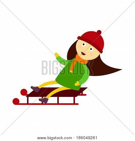Christmas kid playing winter games sledding children playing cartoon new year holiday traditional symbol. Outdoor active fun for family vacation vector character
