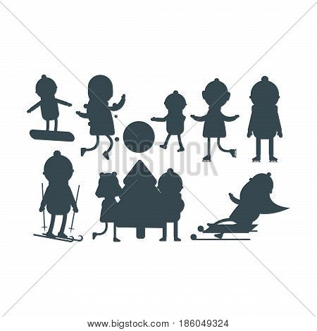 Christmas kids silhouette playing winter games skiing sledding cartoon new year winter holidays characters vector illustration. Holiday toy scarf friend greeting december costume.