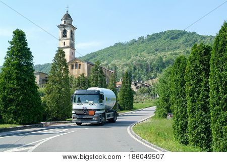Gas Truck On The Road At Malcantone Valley