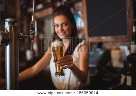 Portrait of female bar tender holding glass of beer at bar counter
