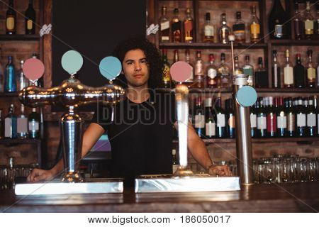 Portrait of male bar tender at bar counter