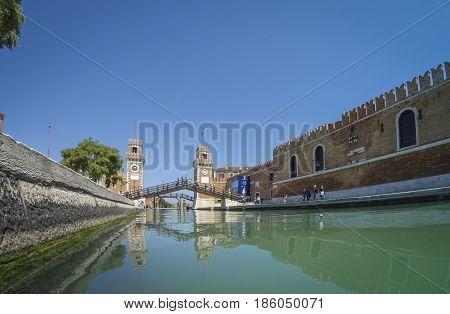 Porta dell' Arsenale from inside the canal. Venice. Italy.