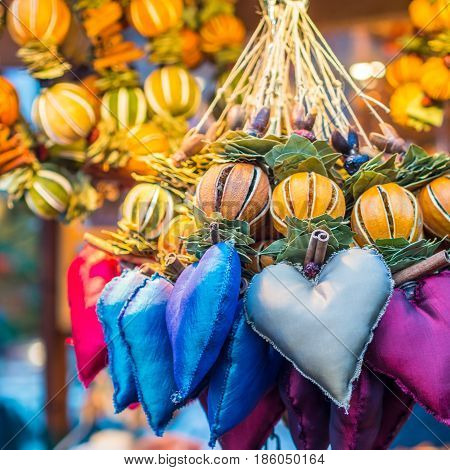 Aromatic And Multicolored Decoration Stand In Chritsmas Market