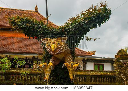 Sculpture Of A Bird. The Bird's Wings Made From The Leaves Of Trees. Bali, Indonesia.