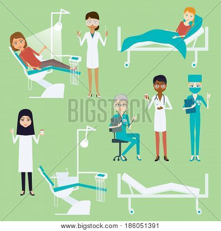 Doctor or nurse woman character set. Cartoon vector flat infographic illustration. Girl medic different race and nationalities with medical instruments. Hospital bed with patients and dental chair