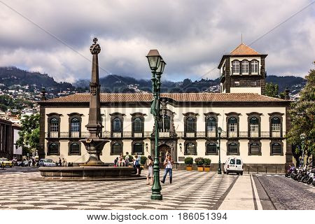 Madeira, Portugal - May 11, 2017: Funchal Town Hall, Madeira island, Portugal