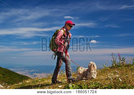 Young woman tourist with dog traveling on mountains on blue sky background