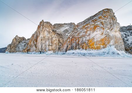View of rocky island at Lake Baikal in Russia