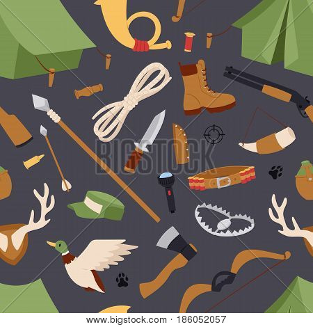 Hunting icons vector seamless pattern isolated background.