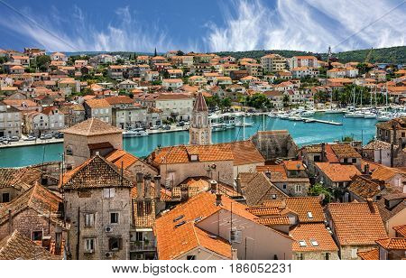 Croatia, Trogir town panoramic view, Croatian tourist destination.