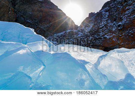 Ice blocks in the sun at Frozen Lake Baikal Russia