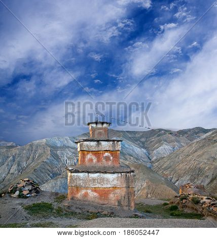 Ancient Bon stupa in Saldang village, Dolpo, Nepal. Saldang lies in Nankhang Valley the most populous of the sparsely populated valleys making up the culturally Tibetan region of Dolpo.