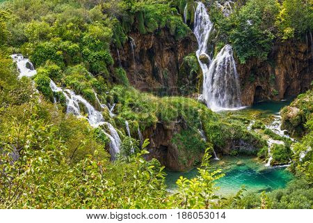 Croatia. Waterfall of Plitvice lake natural landscape