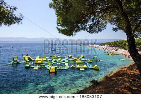 Brac, Croatia - May 12, 2017: Aquapark in Croatian Adriatic resort Brac island, Croatia