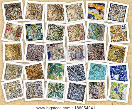 Colage of tile decoration broken glass mosaic Park Guell, Barcelona, Spain. Designed by Gaudi