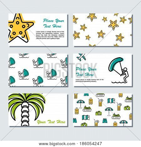Vector six card template - summer time - windsurfing, palm tree, seafish ans other vacation linear icons