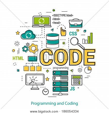 Vector linear concept for programming and coding. Round banner with letters - CODE and many web development and server icons
