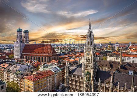 Munich sunset panoramic architecture, Bavaria, Germany,. Frauenkirche and town hall on Marienplatz
