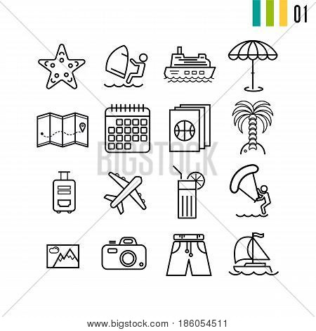 Vector set summer vacation linear outline icons. Beach and trip planning icons - calendar, passport, map, plane, water activities and types of transport