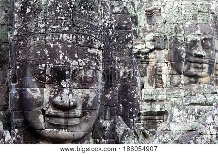 Giant Stone Faces At Prasat Bayon Temple, Cambodia