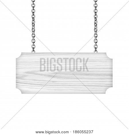 Grey Wooden sign hanging on a chain isolated on white background