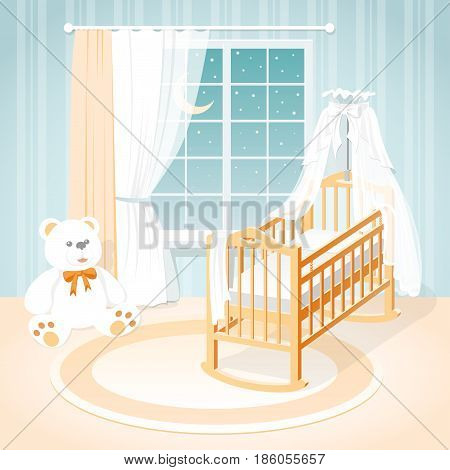 Children's room with a window, a cot and toys.