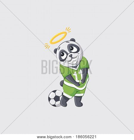 Stock vector illustration sticker emoji emoticon emotion isolated illustration character panda apology angel nimbus overhead football player goalkeeper forward defender gray background for mobile app