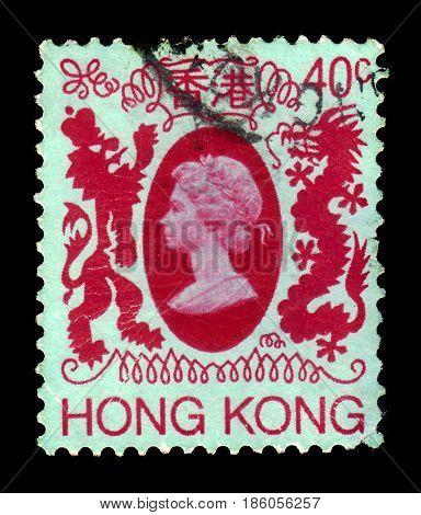 Hong Kong - CIRCA 1982: A stamp printed in Hong Kong shows bas-relief of Queen Elizabeth II, red, circa 1982
