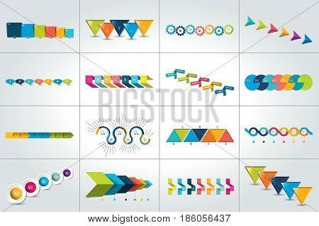 Mega set of timeline concept. Vector design.