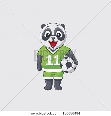 Stock vector illustration sticker emoji emoticon emotion isolated illustration happy character sweet cute little kicker panda football player goalkeeper forward defender gray background for mobile app.