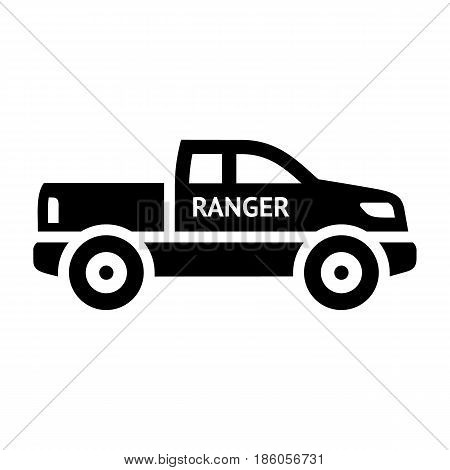 Ranger car, icon isolated on white background flat style