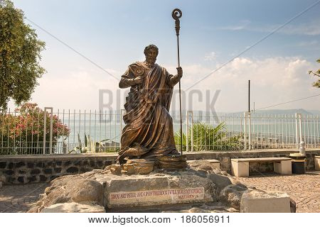 CAPERNAUM, ISRAEL - APRIL 01: Statue of apostle Peter near the waterside of Capernaum on the sea of Galilee, april 01, 2017 in Israel