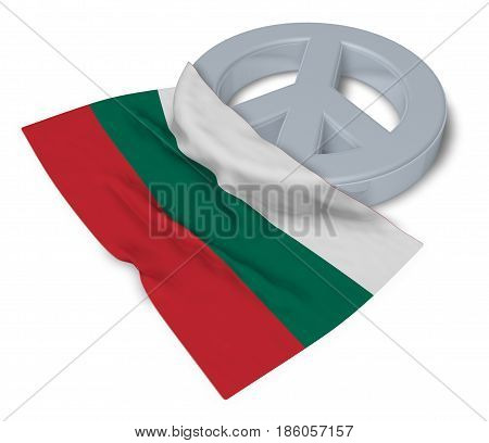 peace symbol and flag of bulgaria - 3d rendering
