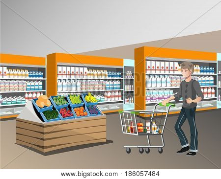 People shopping, supermarket shopping, marketing people, market shop interior, customer in mall, retail store illustration