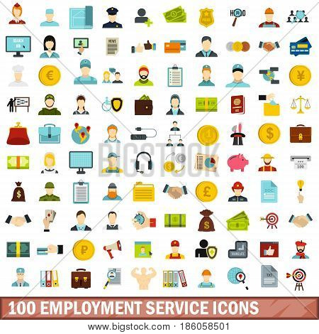 100 employment service icons set in flat style for any design vector illustration