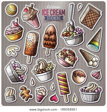 Set of Ice Cream cartoon stickers. Vector objects and symbols collection. Label design elements. Cute patches, pins, badges series. Comic style.
