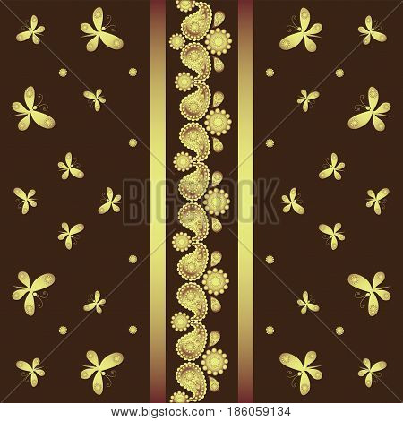 Golden butterfly and ornament. The background is dark brown. Indian motifs. Festive background. Design for textile, tapestry, printing on fabric or paper.