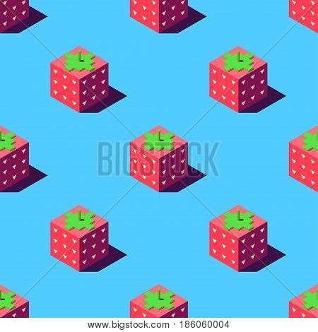 Seamless pattern of cubic strawberries on light blue background. Retro design concept, Clipping mask used.