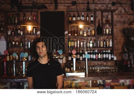 Portrait of male bar tender standing at bar counter