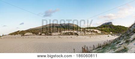 A panorama from dunes of Cala Mesquida Mallorca