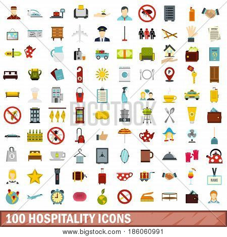 100 hospitality icons set in flat style for any design vector illustration