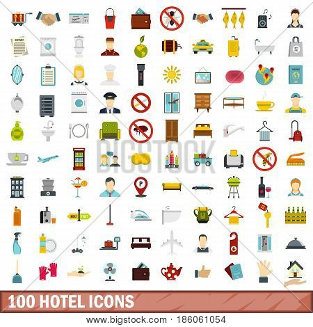 100 hotel icons set in flat style for any design vector illustration