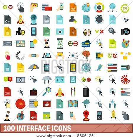 100 interface icons set in flat style for any design vector illustration
