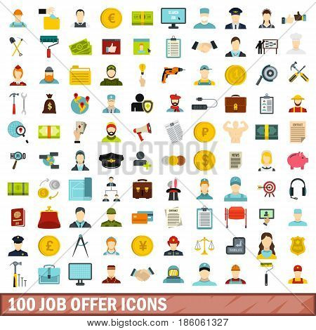 100 job offer icons set in flat style for any design vector illustration