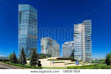 ALMATY KAZAKHSTAN - MAY 12 2017: The complex of buildings of Business Centre of Esentai Tower in Almaty Kazakhstan