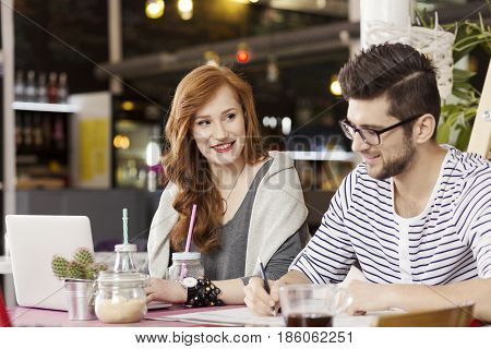 Freelance Couple Enjoying Coffee Break