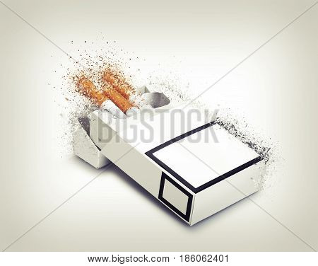Pack of cigarettes exploded on gradient background